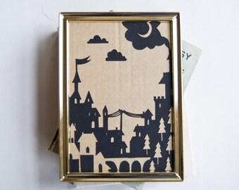 On a Dark Dark night - original framed papercut