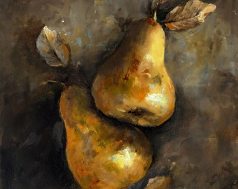 Canvas Print - Two Golden Pears - 8x8 wrapped CANVAS print by Cari Humphry