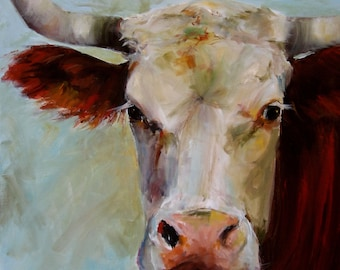 Canvas Cow Print - Lucile the Cow - 8x8 wrapped CANVAS print by Cari Humphry