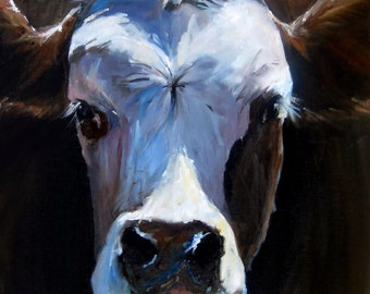 Canvas Cow Print - Claire the Cow - 8x8 wrapped CANVAS print by Cari Humphry