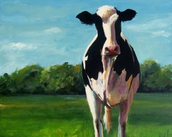 Canvas Cow Print - Sophia the Cow - 8x8 wrapped CANVAS print by Cari Humphry