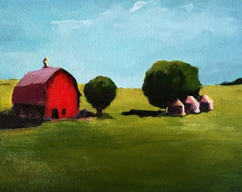 Canvas Print - Little Red Barn - 8x8 wrapped CANVAS print by Cari Humphry
