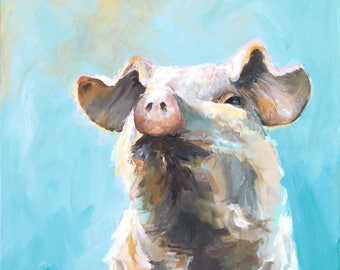 Pig Painting - Sunny Pig - Paper Print of an Original Painting by Cari Humphry