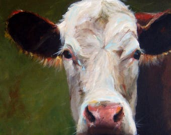 Canvas Cow Print - Frances the Cow - 8x8 wrapped CANVAS print by Cari Humphry