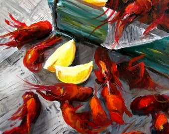 Crawfish -  Paper Print of an Original Painting by Cari Humphry