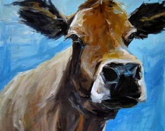 Canvas Cow Print - Lizzy the Cow - 8x8 wrapped CANVAS print by Cari Humphry