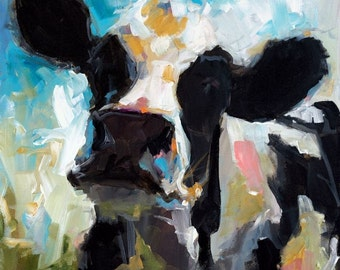 Canvas Cow Print - Daisy the Cow - 8x8 wrapped CANVAS print by Cari Humphry