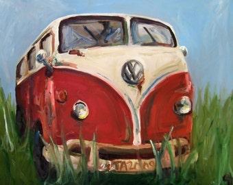 Volkswagon Painting- Davis - Paper Print of an Original Oil Painting of Volkswagon Microbus Van