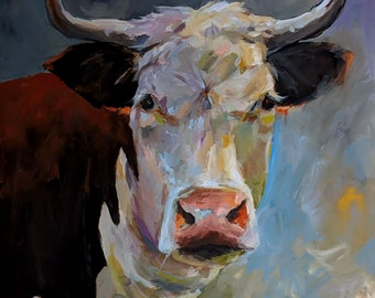 Constance - a Cow painting- Original Painting by Cari Humphry 30x30