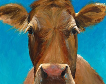 Canvas Cow Print - Marie the Cow - 8x8 wrapped CANVAS print by Cari Humphry