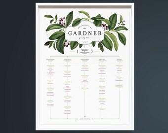 ELDERBERRY family tree 4-5 Children, Custom Family Tree Template, 5 generations, Large family, 16 x 20 Print, Personalized Family Tree Chart