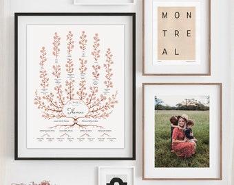 SPIREA Family Tree Template, 5 Generation Family Tree, Customized Family Tree, Personalized Family Tree, Gift for Grandparents, Gift for Mom