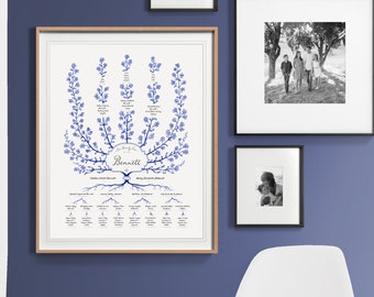 SPIREA Family Tree Template, 6 Generation Family Tree, Custom Family Tree, Personalized Family Tree, Gift for Parents, Gift for Mom
