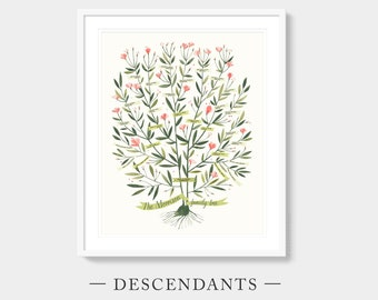 Custom Family Tree - AZALEA Template - DESCENDANTS, 4 Generations or 5 Generations, Gift for Grandparents, Parents, Wedding Anniversary Gift