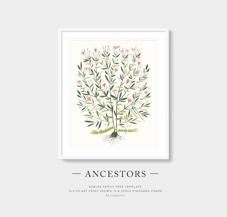 Custom Family Tree  AZALEA Template  ANCESTORS 4 5 or 6 image 0