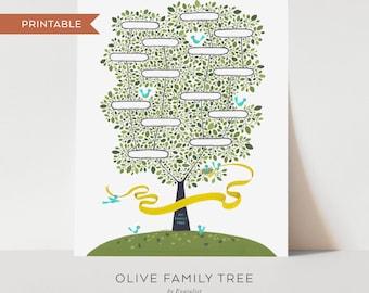 Olive Family Tree for Kids - Printable Blank Family Tree, Nursery Wall Art, Kids Wall Art, 4 generations, Family Tree for Children