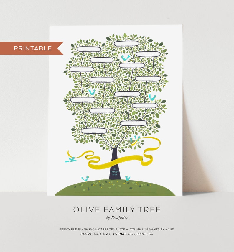 Olive Family Tree for Kids  Printable Blank Family Tree image 0