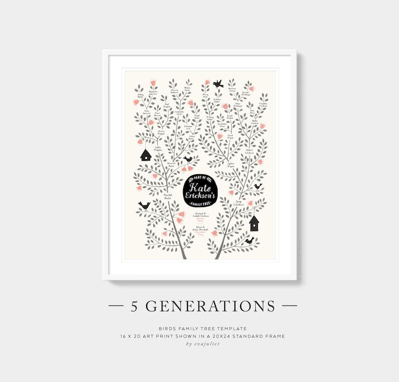 Custom Family Tree  BIRDS Template  5 Generation Family image 0