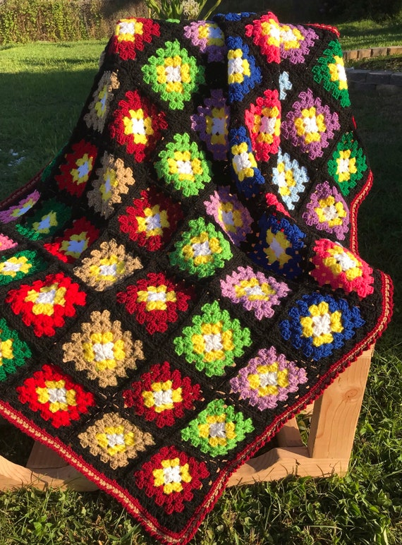 Hand crafted crochet granny squares blanket