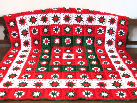 Handmade Crochet Christmas blanket, afghan, throw granny squares 51.5 by 51.5 inch.