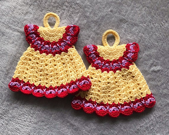 SET of TWO Crocheted / Handmade Christmas Dresses Potholders / Doily's Candle covers.