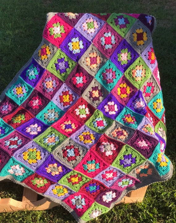 "Hand crochet throw granny squares blanket 42"" by 54"""