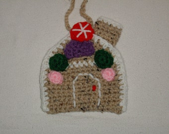 Crocheted Gingerbread House Ornament