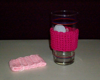 2 Glass, Can or to-go Cup Cozy- RASPBERRY and PINK
