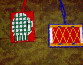 SALE- Drum and Mitten Ornaments