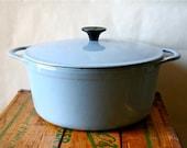 Vintage Cousances Dutch Oven Pan LeCreuset Le Creuset France 1950s Blue SALE was 100