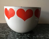 Vintage Arabia Finland Finel Mod Red Heart Bowl Enameled Kaj Franck