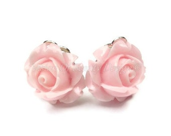 Pink Rose Spring Flower Clip On Earrings