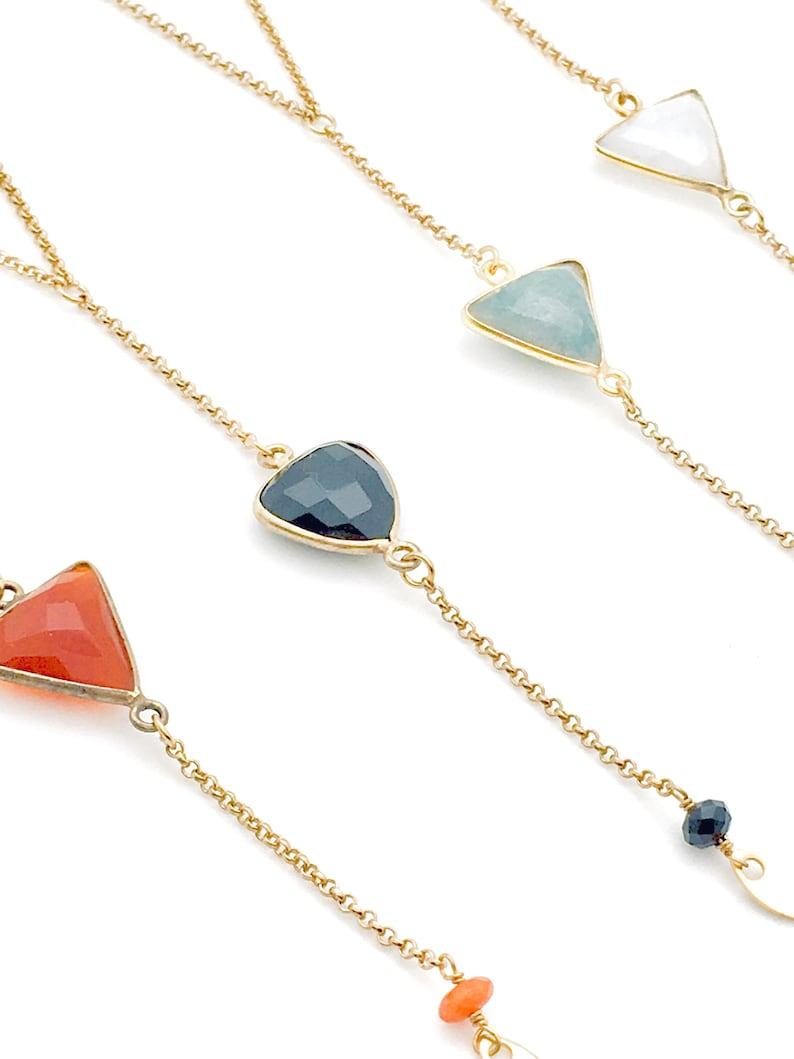 Necklace Y triangle gold semi-precious stone geometric superimposed art deco gilded with fine gold handmade workshop designer green emerald