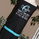 Personalized Embroidered Adult Apron CUSTOM wording or BUSINESS name He calls me MOM