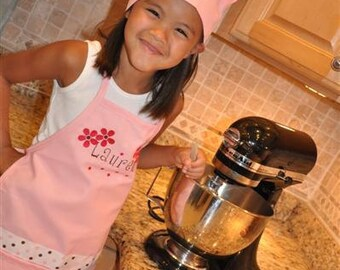 Personalized Embroidered Child's Apron and Chef's Hat LAYERED with FLOWERS Text upgrade