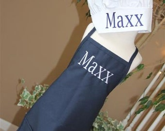 Child's Adult Junior Personalized BOY Apron and Chef's Hat Set Embroidered Monogrammed GIFT