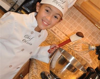 Child's Personalized Chef Coat and Matching Hat Set Embroidered Monogrammed LONG SLEEVE WHITE