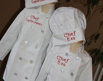 Child's Brother/sister set Personalized Chef Coat and Matching Hat Embroidered Monogrammed LONG SLEEVE WHITE