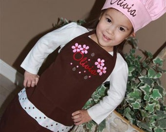 Personalized Embroidered Adult young Adult toddler child  APRON set with CHEF HAT