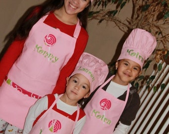 Personalized Embroidered MOTHER  and DAUGHTERS Apron SET swirls pockets lollipop 1 adult and 2 child apron set with Chef's hats