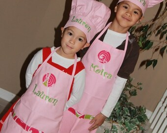 Personalized Embroidered sister Apron SET swirls pockets lollipop with Chef's hats