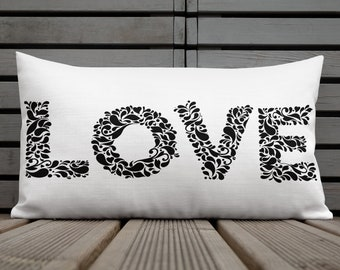 Whimsy Love Rectangle Pillow | Double Sided Design | 20 x 12