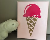 Ice cream, you scream, we all scream for ice cream Get your yummy, drippy, sweet ice cream cone (wall sign) here