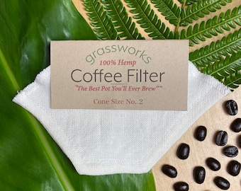 """Reusable Hemp Coffee Filter Cone Size 2 """"The Best Pot You'll Ever Brew"""" tm"""