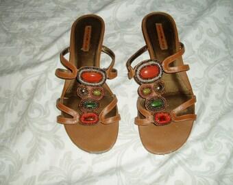 f8fbda94c8bca Vintage Bandolino Jeweled Sandals
