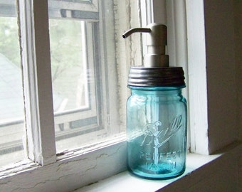 Vintage Blue Mason Jar Soap Dispenser with a metal pump