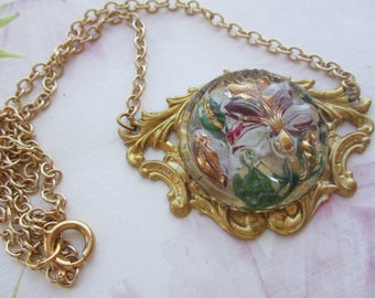 Vintage Handmade Czech Relief Glass Ruby And White Amaryllis Flowers As A Necklace On U.S. 14kt. Gold-Filled Chain