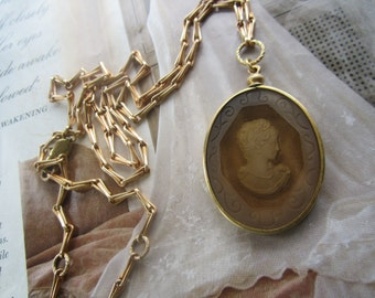 Vintage Topaz Intaglio Lady Cameo Necklace