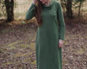 Womens Cotton Maxi Dress Long Sleeve Dress Made in the USA - Made to Order - Mill Creek