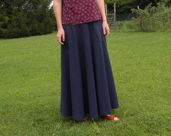 Womens Jersey Knit Cotton Maxi Skirt with Pockets - Handmade in the USA -Iris